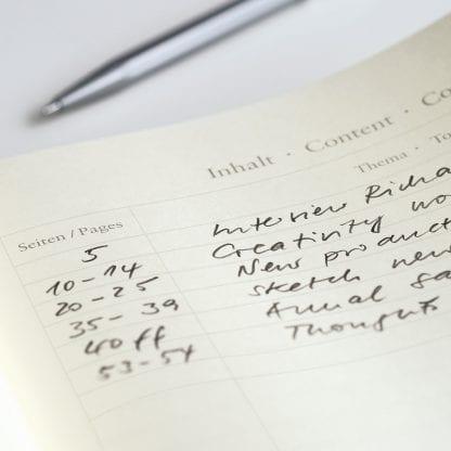 Innholdsfortegnelse på notatbok