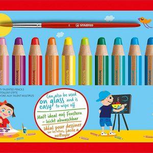 STABILO Woody 3 i 1 Blyanter – 18 farger inkl. spisser og pensel